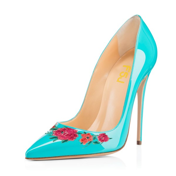 Women's Turquoise Floral Rose Office Heels Pointy Toe Stiletto Heels Pumps image 1