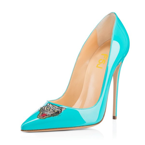 Women's Turquoise Pointy Toe Tiger Floral Office Heels Stiletto Heels Pumps image 1