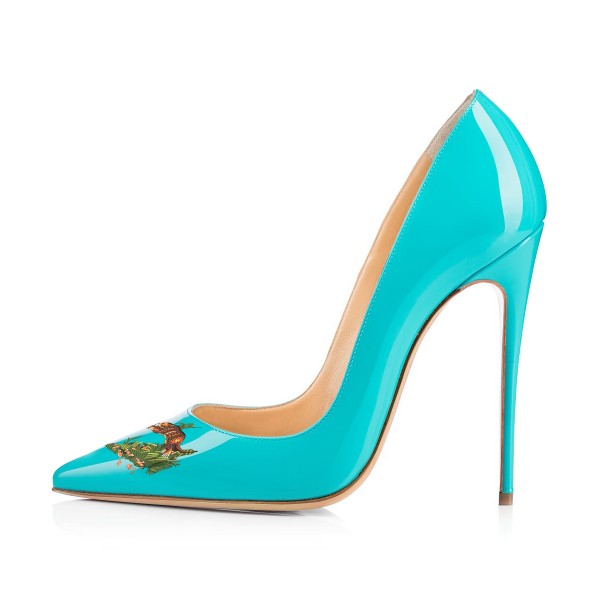 Women's Turquoise Leopard In The Woods Floral Office Heels Pointy Toe Stiletto Heels Pumps image 3
