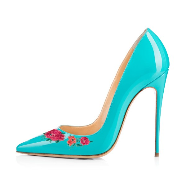 Women's Turquoise Floral Rose Office Heels Pointy Toe Stiletto Heels Pumps image 3