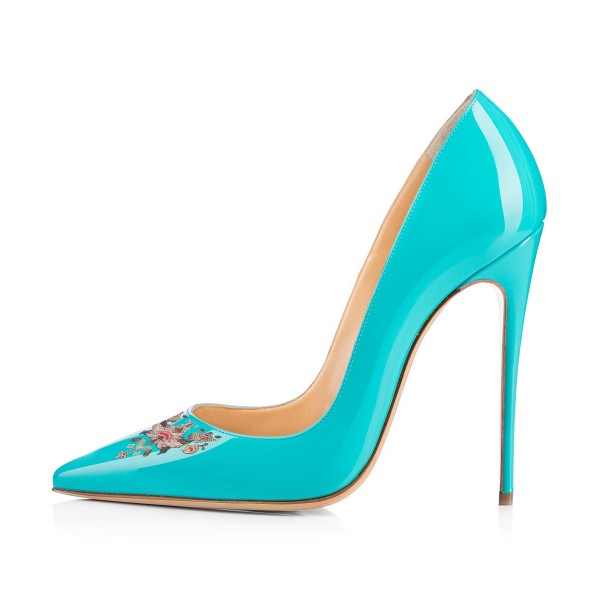 Women's Turquoise Pointy Toe Floral Office Heels Stiletto Heels Pumps image 3