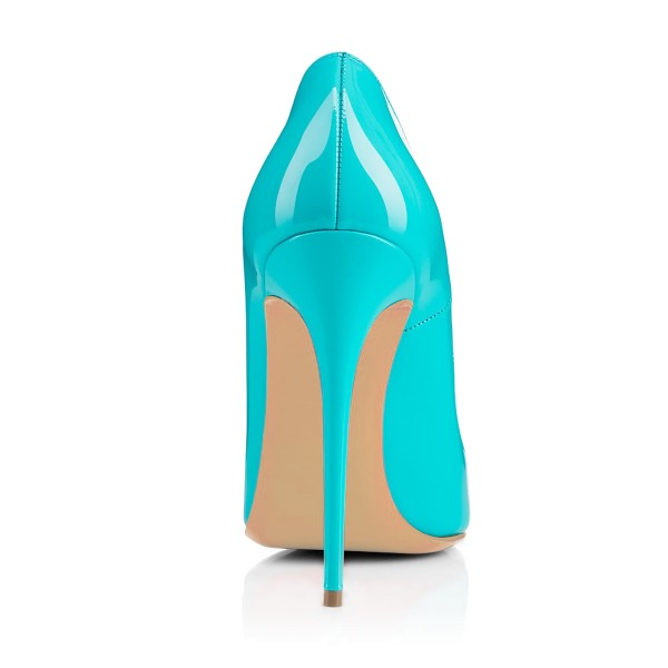 Women's Turquoise Floral Office Heels Pointed Toe Stiletto Heels Pumps image 2