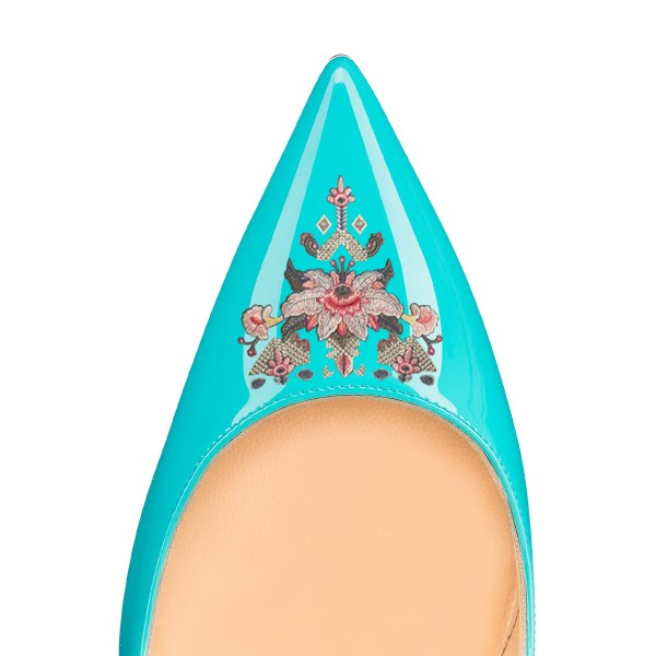 Women's Turquoise Pointy Toe Floral Office Heels Stiletto Heels Pumps image 4