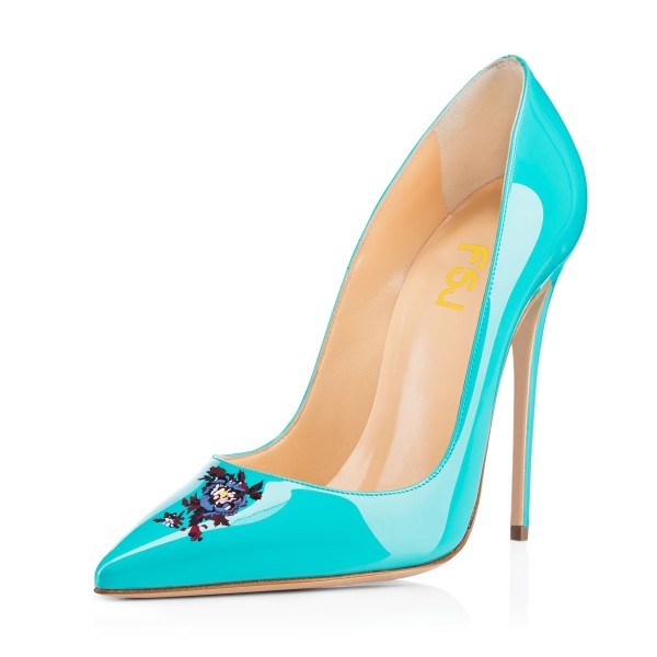 Women's Turquoise Floral Office Heels Pointy Toe Stiletto Heels Pumps image 1