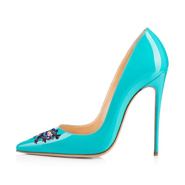 Women's Turquoise Floral Office Heels Pointy Toe Stiletto Heels Pumps image 2
