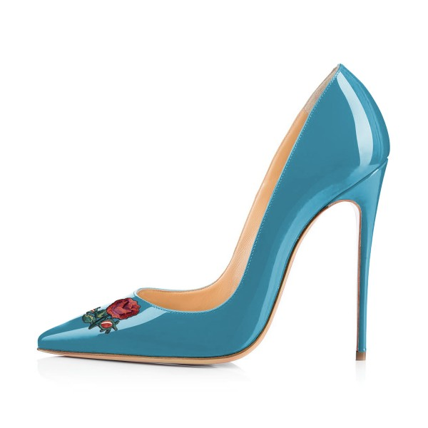 Women's Cyan Pointy Toe Rose Floral Office Heels Stiletto Heels Pumps image 3