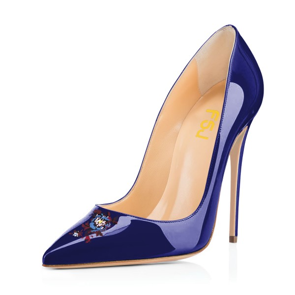 Women's Navy Floral Office Heels Pointy Toe Stiletto Heels Pumps image 1