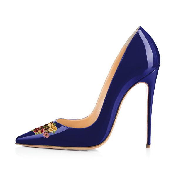 Women's Navy Floral Office Heels Pointed Toe Stiletto Heels Pumps image 3