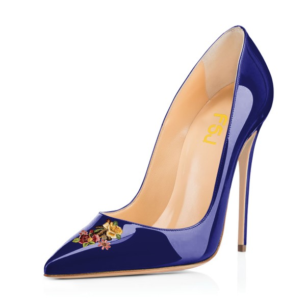 Women's Navy Floral Office Heels Pointed Toe Stiletto Heels Pumps image 1