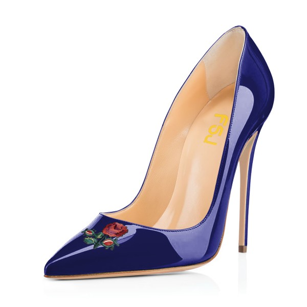 Women's Navy Pointy Toe Rose Floral Office Heels Stiletto Heels Pumps image 1