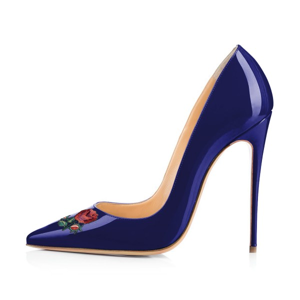Women's Navy Pointy Toe Rose Floral Office Heels Stiletto Heels Pumps image 2