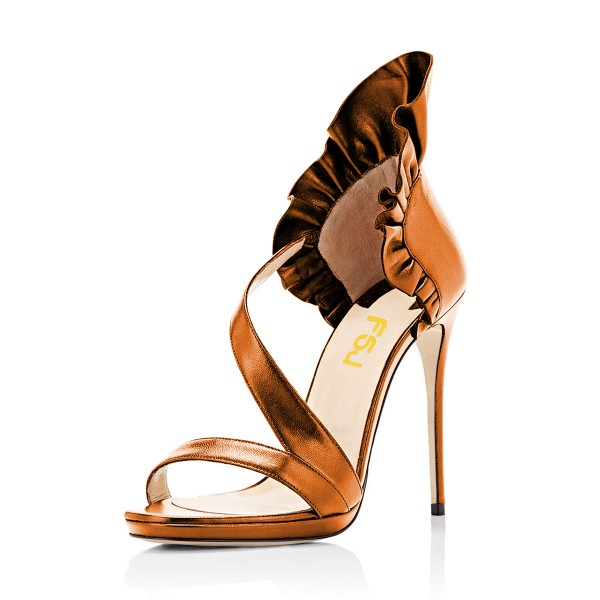 Women's Yellow Stiletto Heels Commuting Strappy Open Toe Sandals image 1