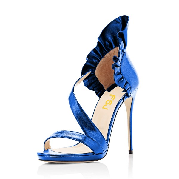 Women's Blue Stiletto Heels Commuting Strappy Open Toe Sandals image 1