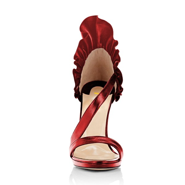 Women's Red Stiletto Heels Commuting Sandals Open Toe Dress Shoes image 4