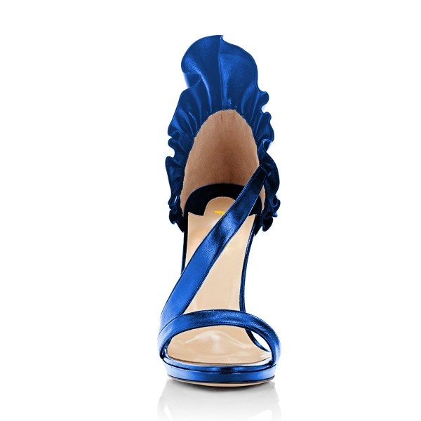 Women's Blue Stiletto Heels Commuting Strappy Open Toe Sandals image 4