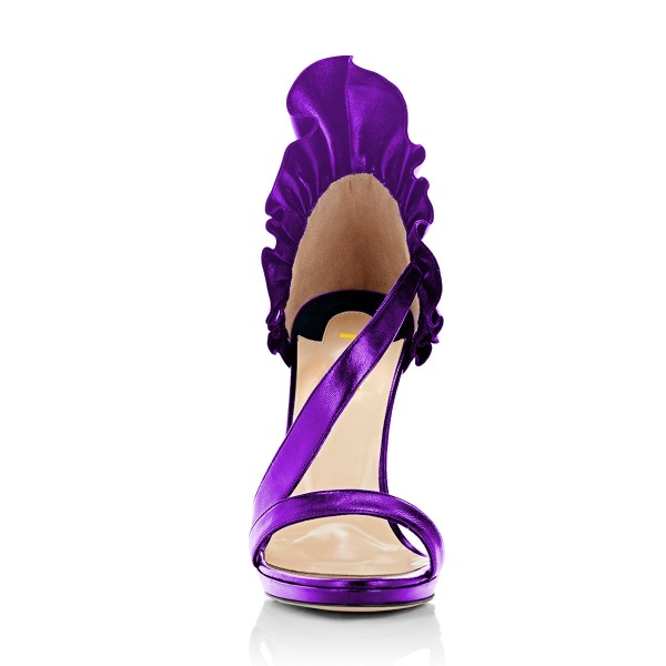 Women's Purple Stiletto Heels Commuting Strappy Open Toe Sandals image 4