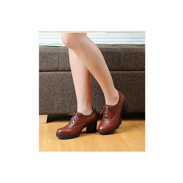 Women's Brown Lace Up  Round Toe Vintage Shoes image 2