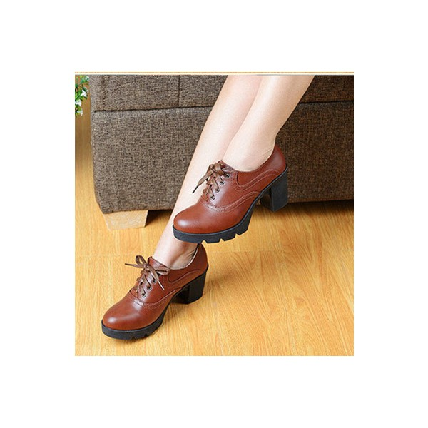 Women's Brown Lace Up  Round Toe Vintage Shoes image 1
