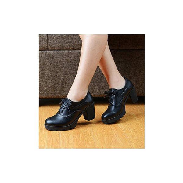 Women's Black  Round Toe Lace Up Chunky Heel Vintage Shoes image 1