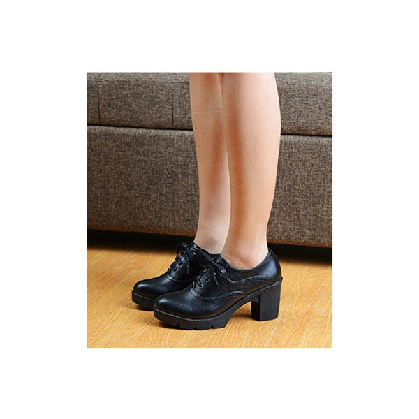 Women's Black  Round Toe Lace Up Chunky Heel Vintage Shoes image 2