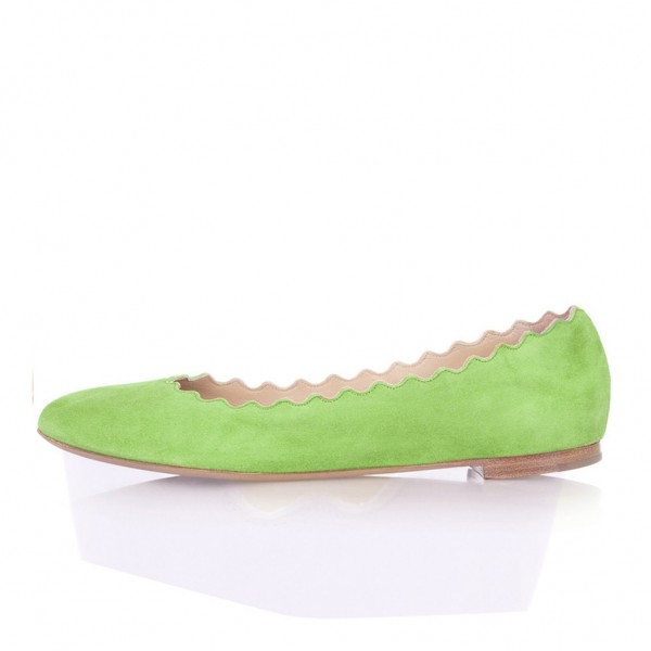 On Sale Lime Green Suede Ballet Flats Round Toe Comfortable Flats image 1
