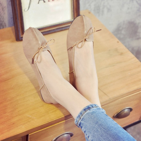 Women's Light Brown Simple Bow Comfortable Flats  image 2
