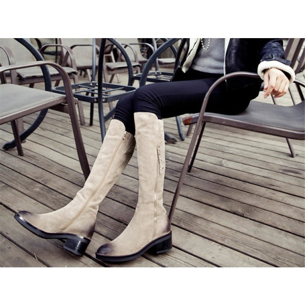 Beige Vintage Boots Suede Round Toe Knee-high Boots  image 2