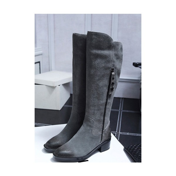 Dark Grey Vintage Boots Suede Round Toe Knee-high Boots image 1