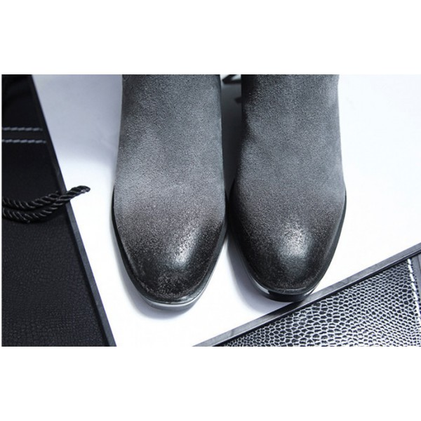 Dark Grey Vintage Boots Suede Round Toe Knee-high Boots image 2