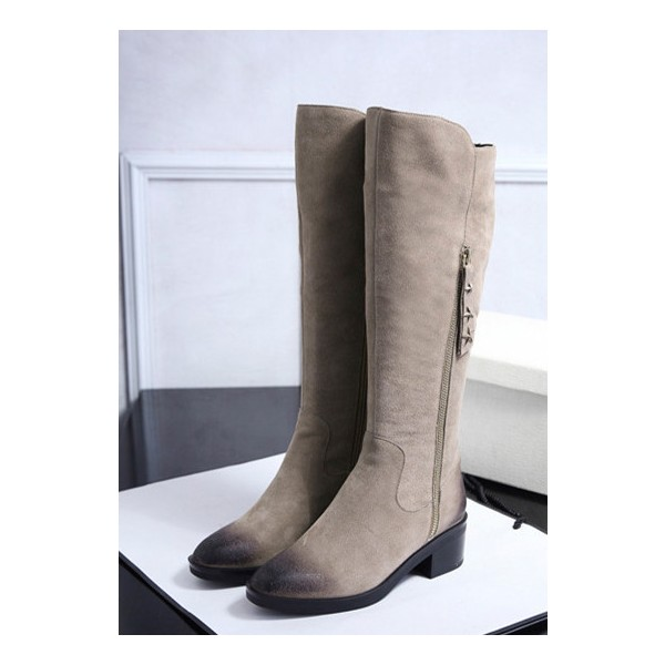 Beige Vintage Boots Suede Round Toe Knee-high Boots  image 1