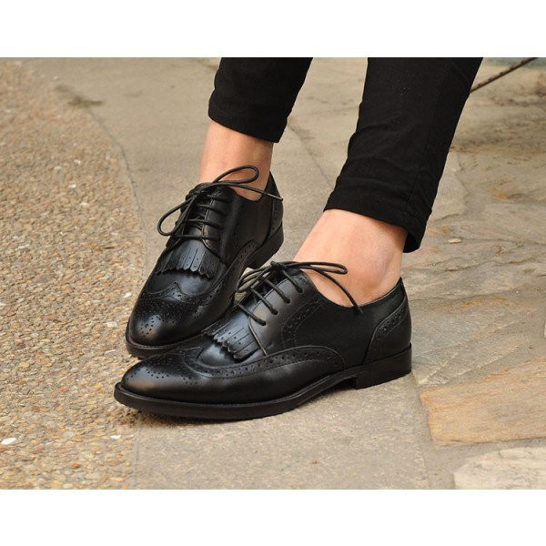 Black Women's Oxfords Fringe Lace-up Vintage Shoes image 2