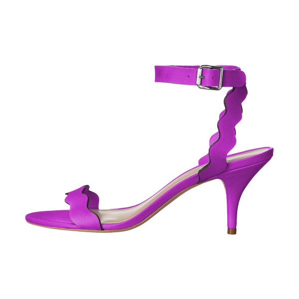 Purple Ankle Strap Sandals Kitten Heels Slingback Shoes by FSJ image 2