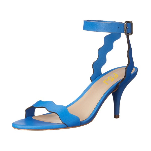 Women's Light Blue Ripple Kitten Heel Ankle Strap Sandals image 1
