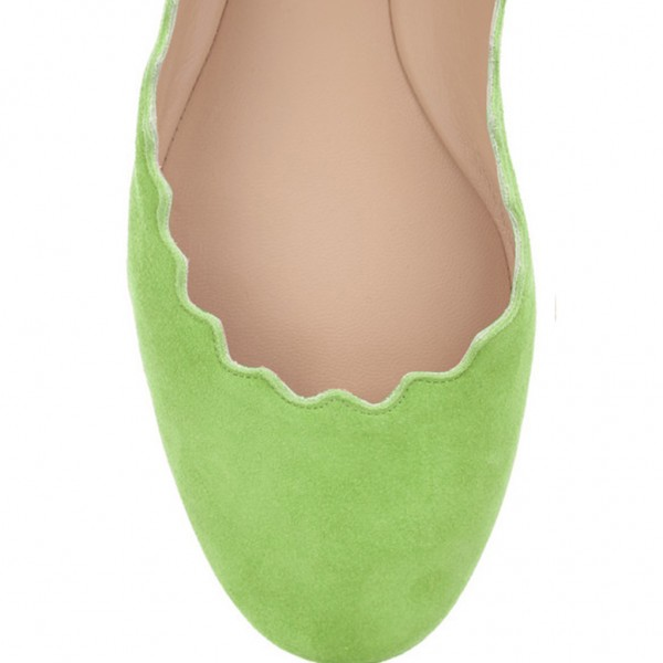 On Sale Lime Green Suede Ballet Flats Round Toe Comfortable Flats image 4