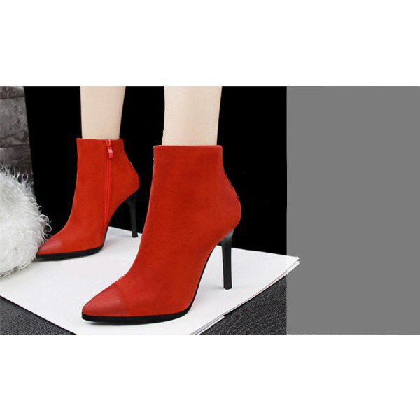 Women's Orange Stiletto Heels Ankle Boots Pointed Toe Vintage Boots image 3