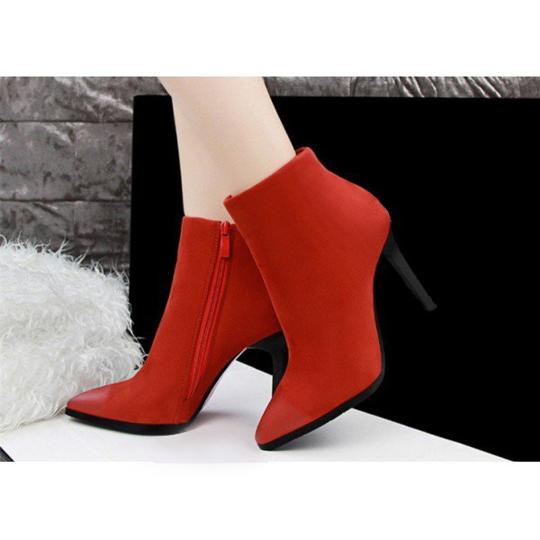 Women's Orange Stiletto Heels Ankle Boots Pointed Toe Vintage Boots image 2
