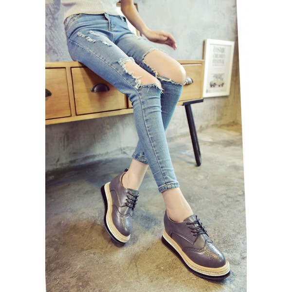 Grey Wingtip Shoes Lace up Round Toe Vintage Women's Oxfords image 2