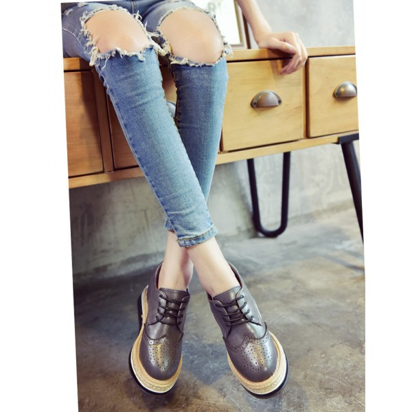 Grey Wingtip Shoes Lace up Round Toe Vintage Women's Oxfords image 3