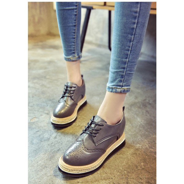 Grey Wingtip Shoes Lace up Round Toe Vintage Women's Oxfords image 1