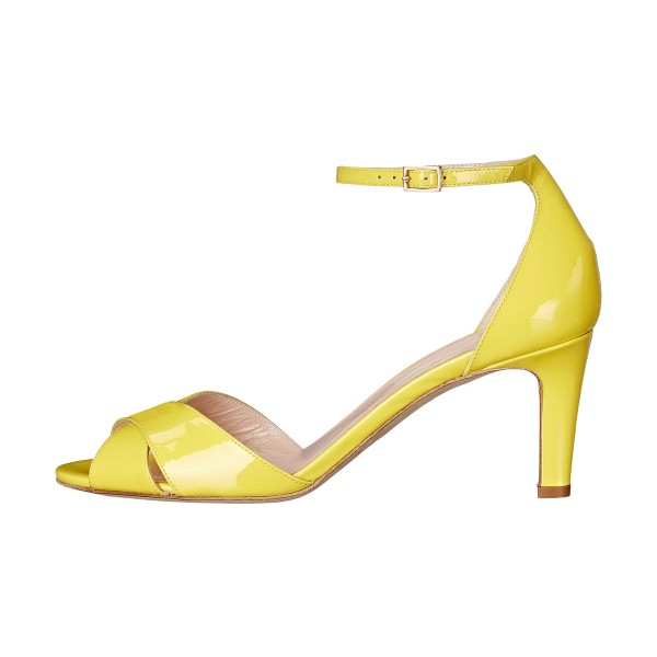 Women's Yellow Ankle Strap Sandals Peep Toe Stiletto Heels image 2