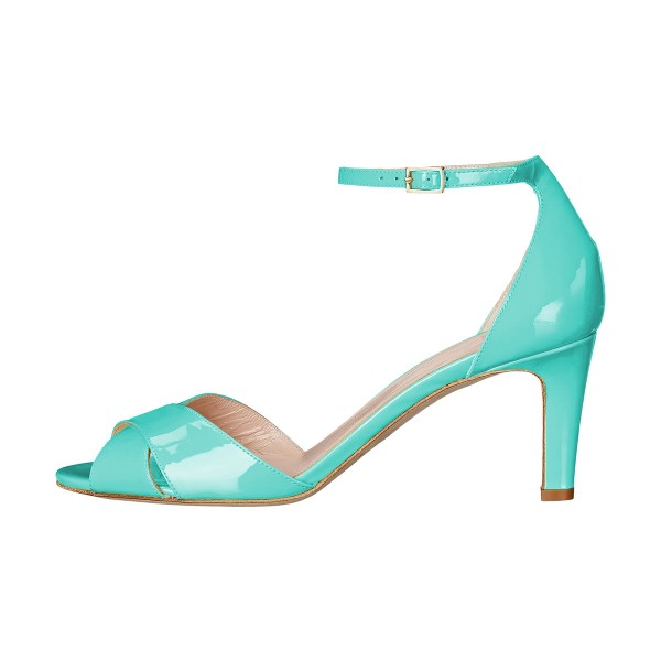 Women's Cyan Ankle Strap Sandals Peep Toe Stiletto Heels image 2
