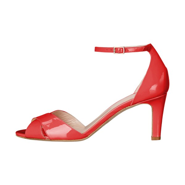 Women's Coral Red Ankle Strap Sandals Peep Toe Stiletto Heels image 2