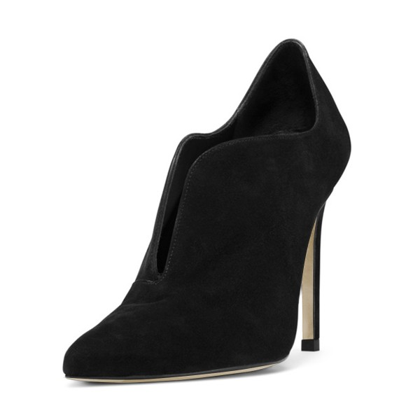 Black Stiletto Boots Suede Pointy Toe Heeled Booties for Work image 1