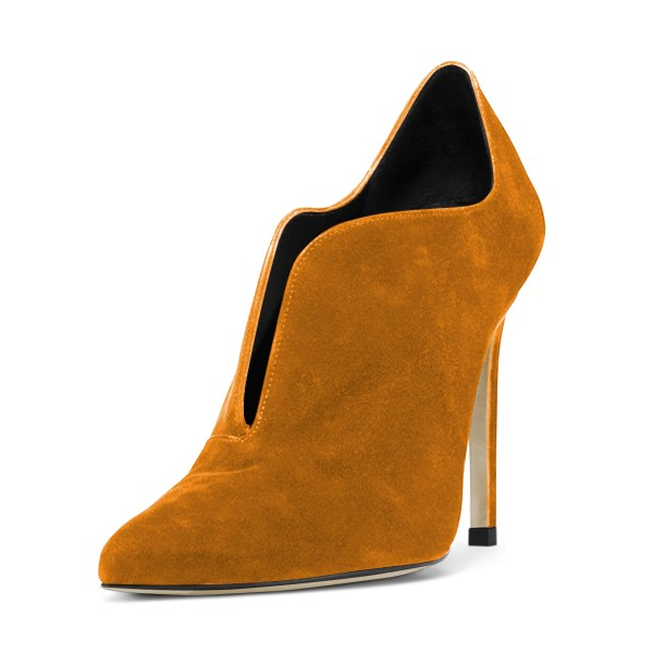 Fashion Mustard Stiletto Boots Suede Pointy Toe Heeled Ankle Booties image 1