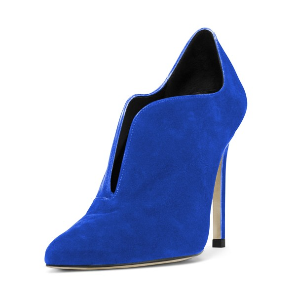 Royal Blue Stiletto Boots Suede Pointy Toe Ankle Booties image 1