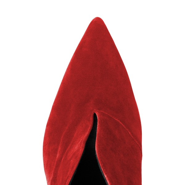 Red Stiletto Boots Pointy Toe Suede Heeled Booties for Women image 2