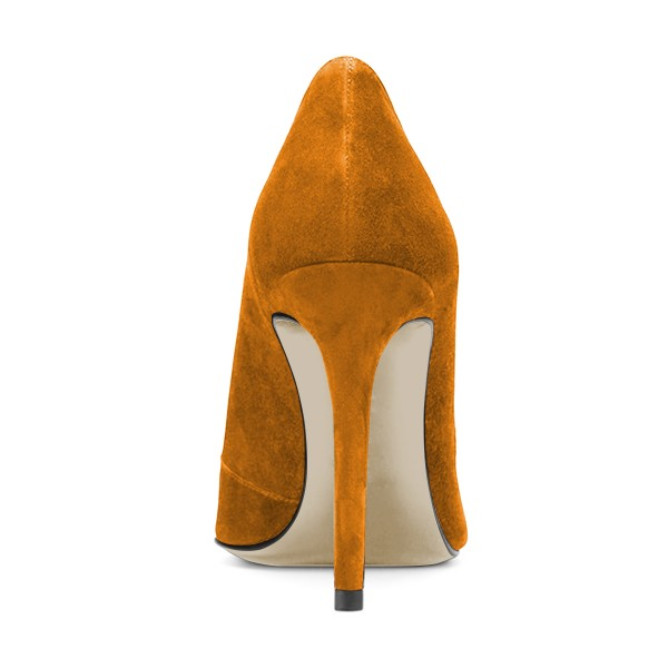 Fashion Mustard Stiletto Boots Suede Pointy Toe Heeled Ankle Booties image 3