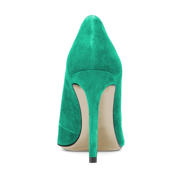 Turquoise Suede Stiletto Boots Cut out Pointy Toe Ankle Booties image 3
