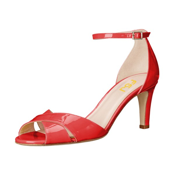 Women's Coral Red Ankle Strap Sandals Peep Toe Stiletto Heels image 1