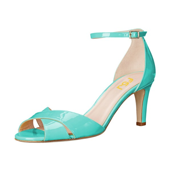 Women's Cyan Ankle Strap Sandals Peep Toe Stiletto Heels image 1